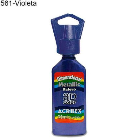 Tinta Dimensional 3D Relevo Metálica 35ml Cor 561 Violeta  Acrilex