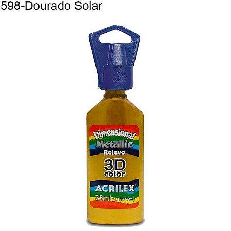 Tinta Dimensional 3D Relevo Metálica 35ml Cor 598 Dourado Solar  Acrilex