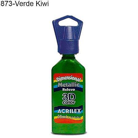 Tinta Dimensional 3D Relevo Metálica 35ml Cor 873 Verde Kiwi  Acrilex