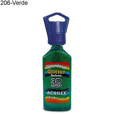 Tinta Dimensional 3D Relevo Glitter 35ml Cor 206 Verde Acrilex