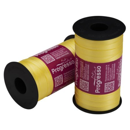 Fita Cetim Progresso N° 1 (07mm) Cor 242 Amarelo Canário Face Simples 100 metros