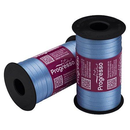 Fita Cetim Progresso N° 1 (07mm) Cor 246 Azul Celeste Face Simples 100 metros