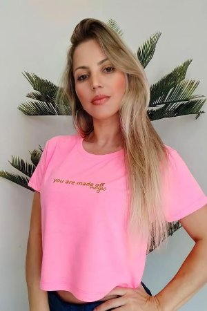 CROPPED PINK NEON YOU ARE MADE OFF