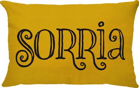 Capa Almofada Retangular Sorria Dupla Face Amarela