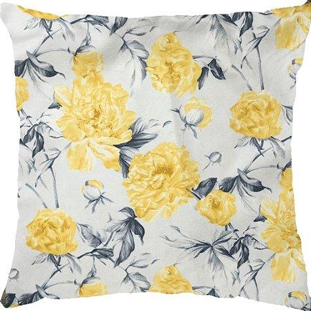 Capa Almofada Veludo Floral Amarela