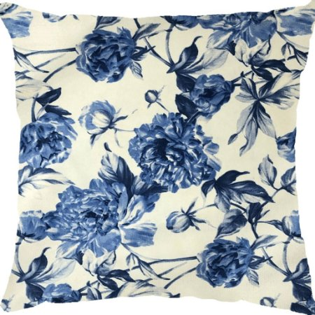 Capa Almofada Veludo Floral Azul Marinho