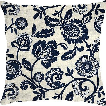 Capa Almofada Veludo Floral Azul e Cinza
