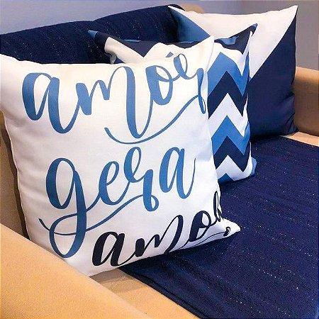 Kit 3 Capas Almofadas Amor Gera Amor Azul