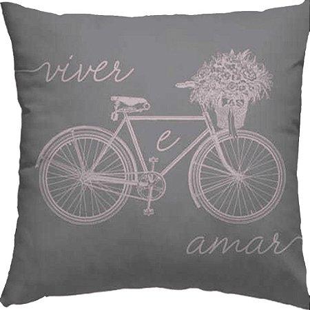 Capa Almofada Bicicleta Viver e Amar Rosa Cinza Flores 2