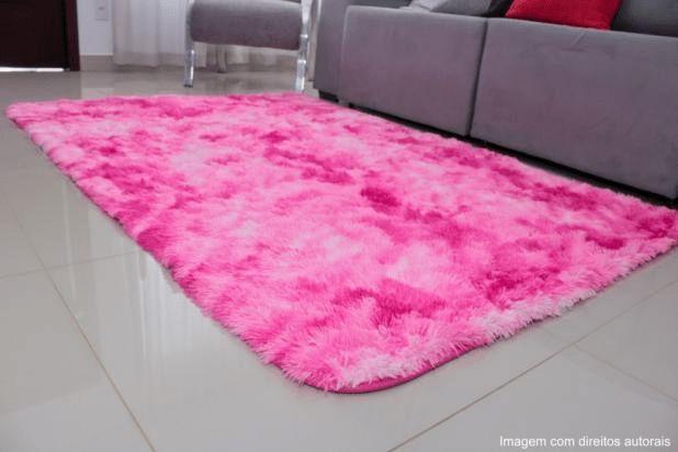 Tapete Pelo Alto 2,00 X 1,40 m Pink Mesclado
