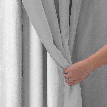 CORTINA ACACIA 2,60M X 4,00M Forro Branco Voil Cinza