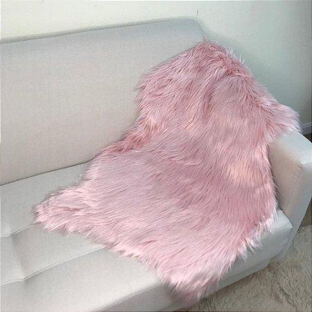 Manta Pelego Pele Sintética em forma de pele - Rosa Claro