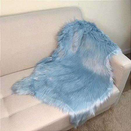 Manta Pelego Pele Sintética em forma de pele - Azul Claro