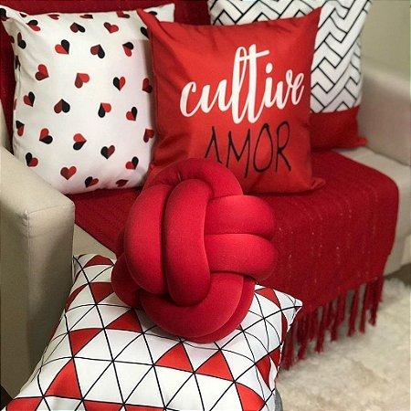 Kit 4 Capas Almofadas Cultive Amor Vermelha