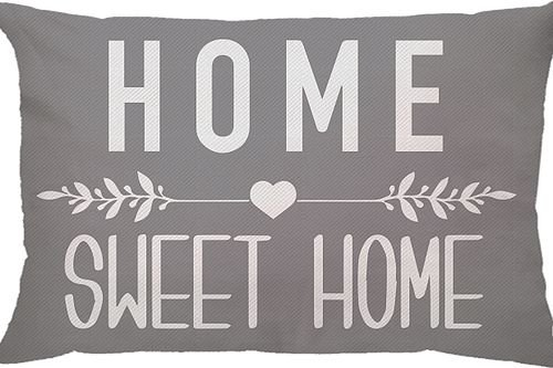 Capa Almofada Retangular Home Sweet Home - Cinza
