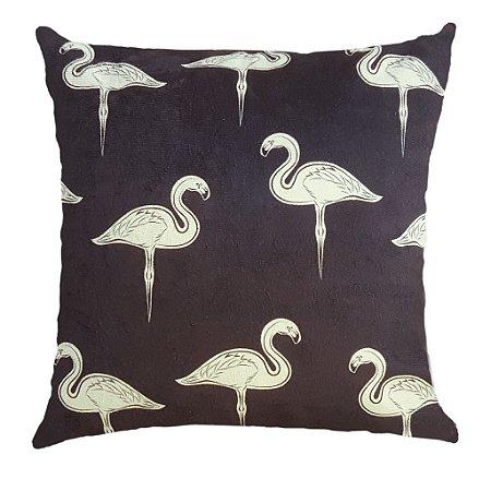 Capa Almofada Veludo Flamingo Preta