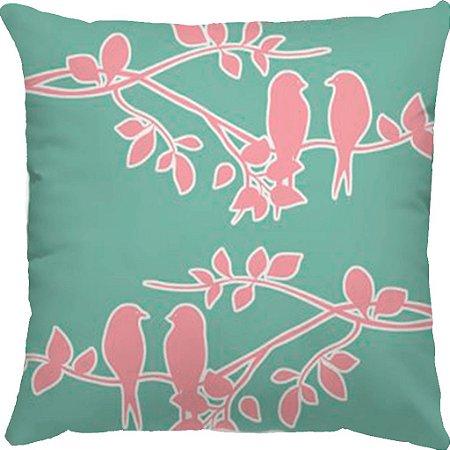 Capa Almofada Pássaros Chá Verde Rosa