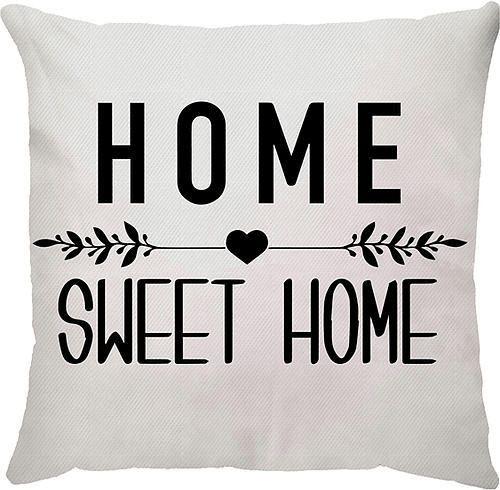 Capa Almofada Home Sweet Home Branca