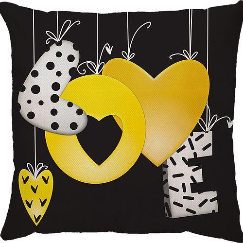 Capa Almofada Love Balão Amarelo