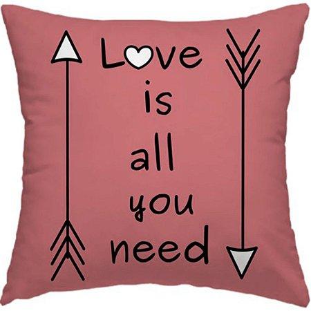 "Capa Almofada ""LOVE IS ALL YOU NEED"" - ROSA GOLD"