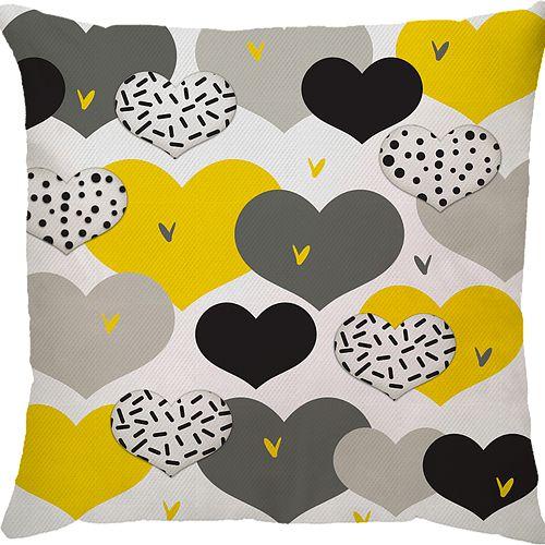 Capa Almofada Coração Amarelo