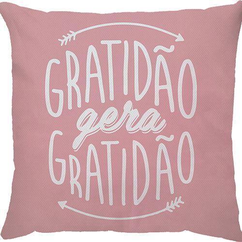 Capa Almofada Gratidão Gera Gratidão Rosa