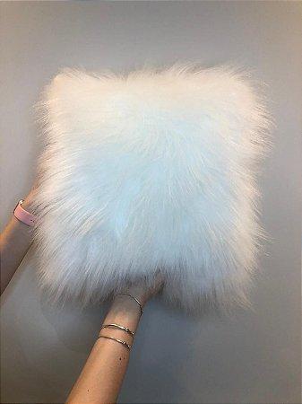 Capa Almofada Polar Pele Sintética - Branca
