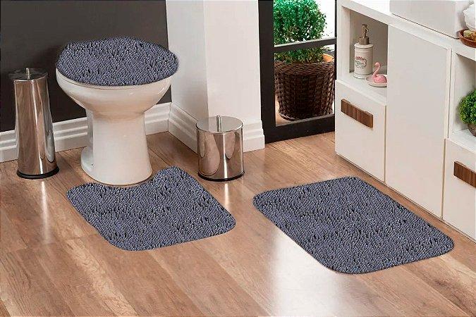 Jogo Banheiro Tapete Microfibra - Cinza Grafite