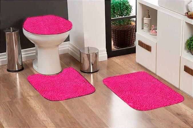 Jogo Banheiro Tapete Microfibra - Pink