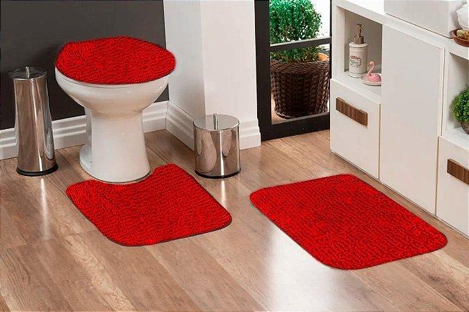 Jogo Banheiro Tapete Microfibra - Vermelho