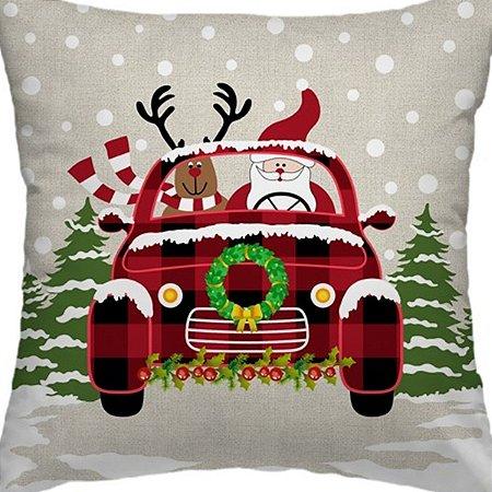 Capa Almofada Papai Noel e Rena