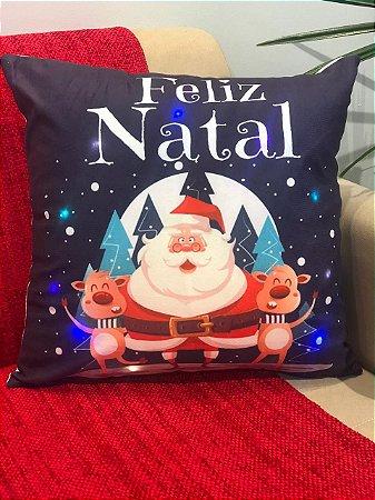 Capa Almofada Suede com Led Azul Marinho Papai Noel e Renas
