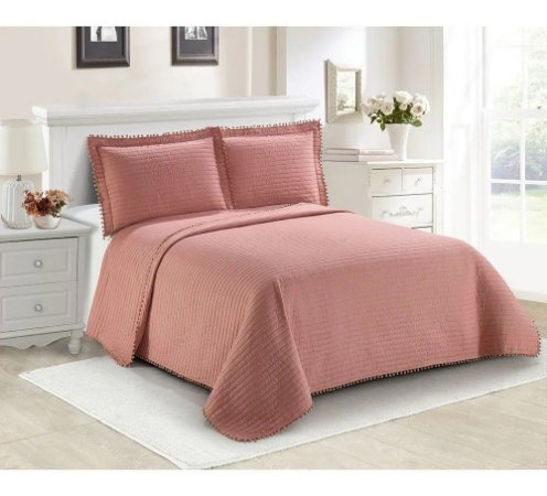 COLCHA POMPOM KING 260x280 ROSE 16-1330
