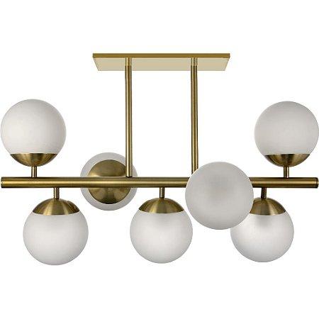 Lustre Bola Com 7 Globos Bronze Medidas Especiais