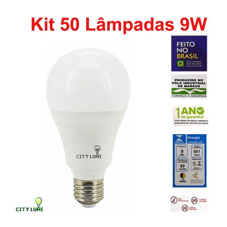 Kit com 50 Lâmpadas de Led 9w 6000k