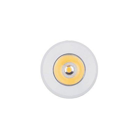 Mini Spot Led De Embutir 1w Redondo Branco