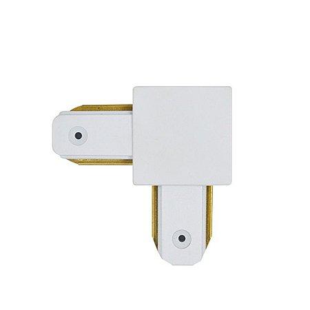 Conector tipo L para emenda de trilho eletrificado Branco
