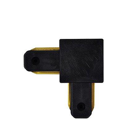Conector tipo L para emenda de trilho eletrificado Preto