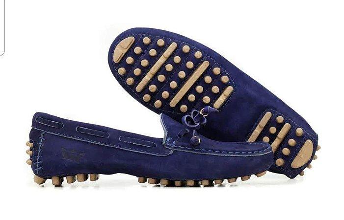 Mocassim sapato feminino confortavel Azul Bic