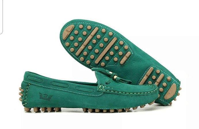 Sapato Mocassim Couro Legítimo Verde