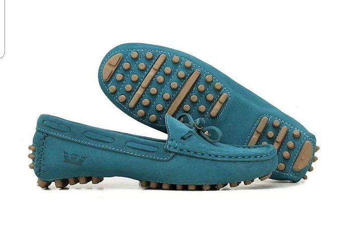 Sapato Mocassim Feminino Couro Legítimo Azul Turquesa