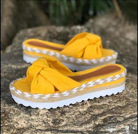 Tamanco Sandália Tratorada Amarelo Nó