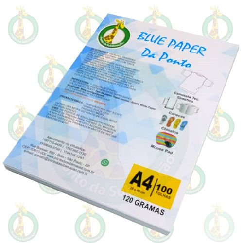 Papel Sublimatico A4 Blue Paper da Ponto 120g Pct c/100un