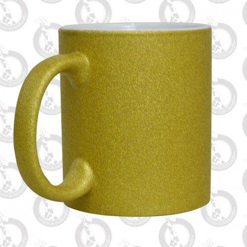 Caneca de Porcelana Glitter 300ml Dourada