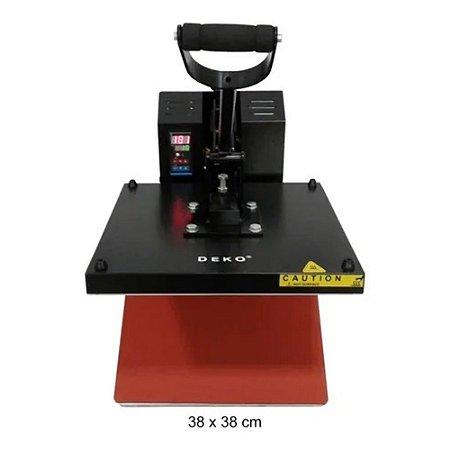 Prensa sublimadora e transfer Deko Flat Thermal Press 38x38 preta 110V