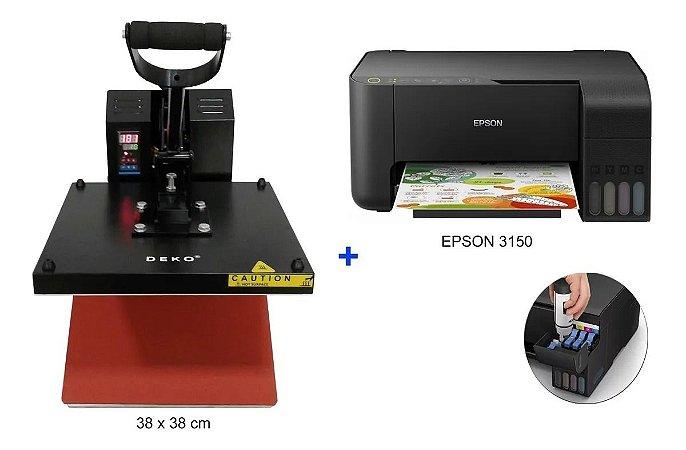 Prensa Térmica Plana 38x38cm 110v + Impressora Epson L3150