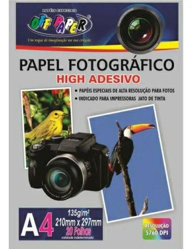 PAPEL FOTOGRAFICO ADESIVO OFF PAPER A4 135G PCT C/20 FLS