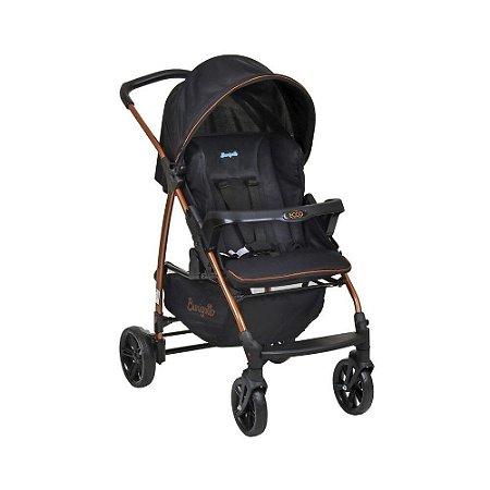 Carrinho de Bebê Travel System Ecco Preto Cobre + Bebe Conforto Touring Black  - Burigotto
