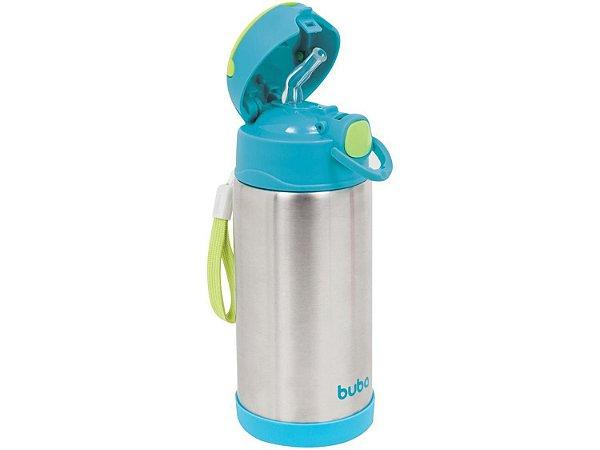 Garrafa Térmica Inox Infantil Menino Azul Canudo Macio de Silicone Original - Buba