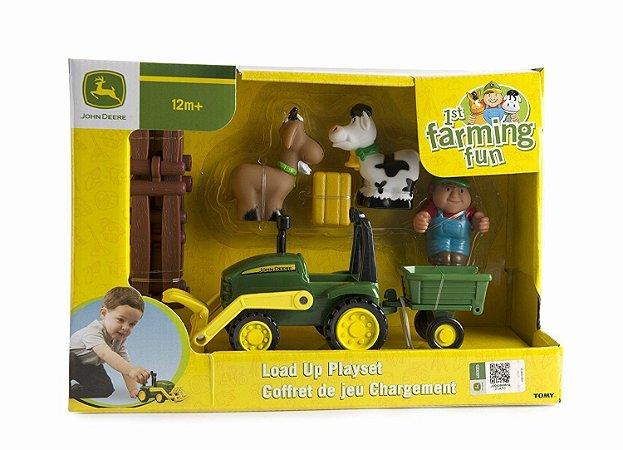 Playset Fazendinha com Mini Trator Jonh Deere 1St Farming Fun Load Up Playset - Peg-Pérego